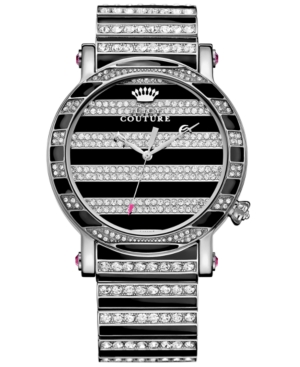 Juicy Couture Women's Queen Couture Crystal Accent and Black Enamel Stainless Steel Bracelet Watch 42mm 1901210