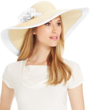 Nine West Packable Two Tone Super Floppy Hat with Flower