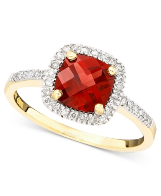 14k Gold Ring, Garnet (1-1/6 ct. t.w.) and Diamond (1/6 ct. tw.)