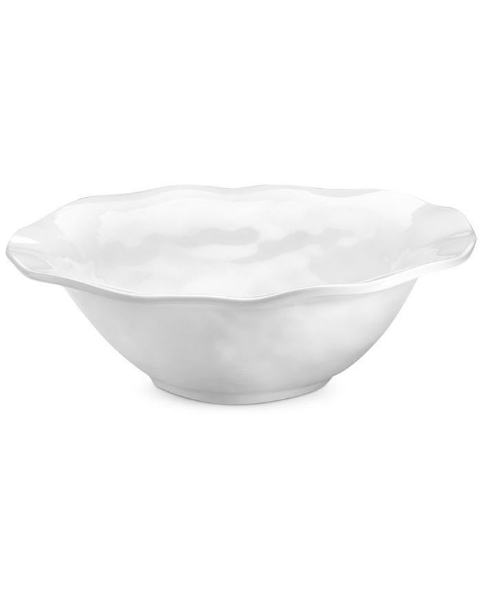 """Q Squared - QSquared Ruffle White Melamine 12"""" Serving Bowl"""