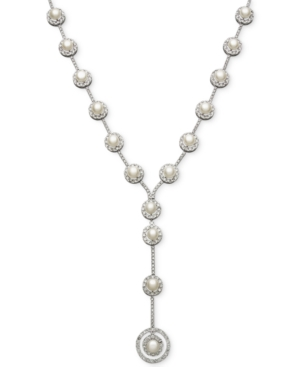 Belle de Mer Bridal Cubic Zirconia (36-3/4 ct. t.w.) and Cultured Freshwater Pearl (7mm) Y-Necklace in Silver-Plated Brass