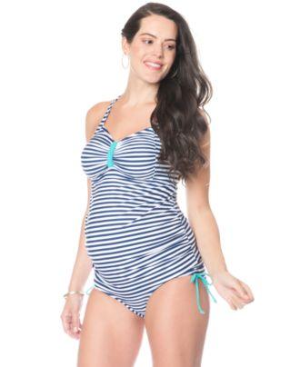 Motherhood Maternity Cross-Back Striped Tankini Swimsuit