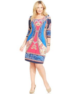 Ny Collection Plus Size Plus Size Printed Shift Dress