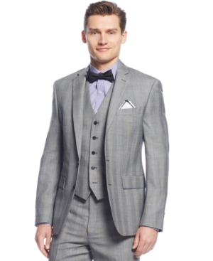 Ryan Seacrest Distinction Black  White Glen Plaid Jacket $209.99 AT vintagedancer.com