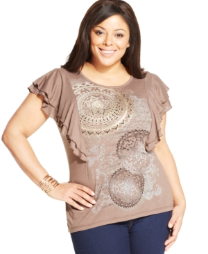 Style & co. Plus Size Printed Flutter-Sleeve Tee