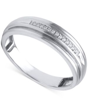 Beautiful Beginnings Men's Diamond Accent Wedding Band in 14k White Gold thumbnail