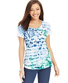 Style&co. Petite Printed Striped Embellished Tee