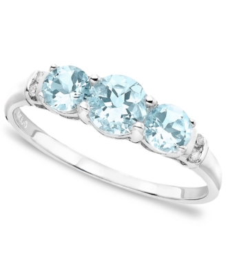 14k White Gold Three-Stone Aquamarine (5/8 ct. tw.) & Diamond Accent Ring