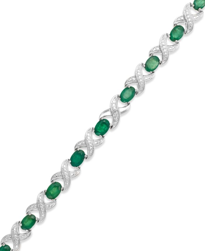 Macy's Sapphire (8 ct. t.w) and Diamond Accent XO Bracelet in Sterling Silver (also in Emerald, Certified Ruby and Tanzanite) & Reviews - Bracelets - Jewelry & Watches - Macy's