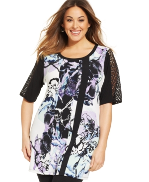 Style & co. Plus Size Sheer-Sleeve Printed Tunic