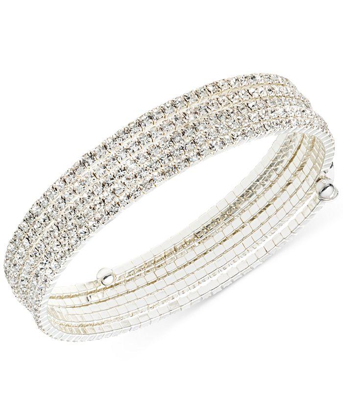 Anne Klein - Silver-Tone Multi-Row Rhinestone Flex Bracelet
