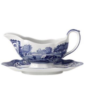 "Spode ""Blue Italian"" Gravy Boat with Stand"