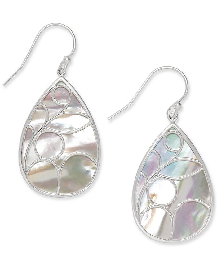Macy's - Mother of Pearl Caged Teardrop Earrings in Sterling Silver