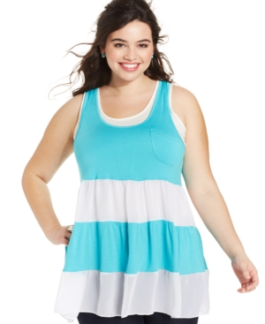 Ing Plus Size Top, Sleeveless Colorblocked Ruffle