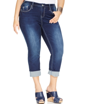 Hydraulic Plus Size Flap-Pocket Cropped Jeans, Lola Wash