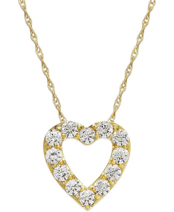Macy's - Diamond Heart Pendant Necklace in 14k Gold (1/4 ct. t.w.)