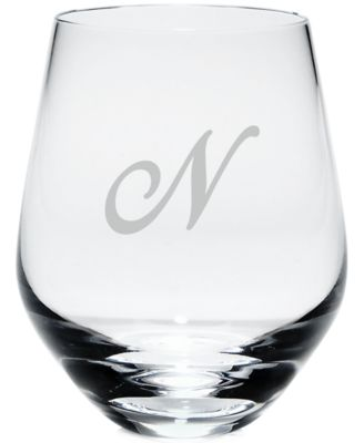 Lenox Tuscany Monogram Stemware, Set of 4 Script Letter Stemless White Wine Glasses