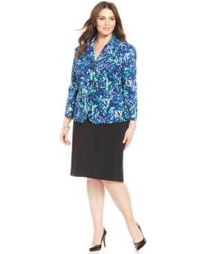 Le Suit Plus Size Three-Button Printed-Blazer Skirt Suit