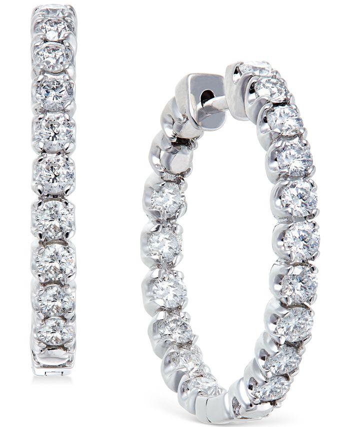 Macy's - Diamond Hoop Earrings in 14k White Gold (2-1/2 ct. t.w.)