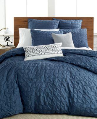 Bar III Box Pleat Indigo King Comforter