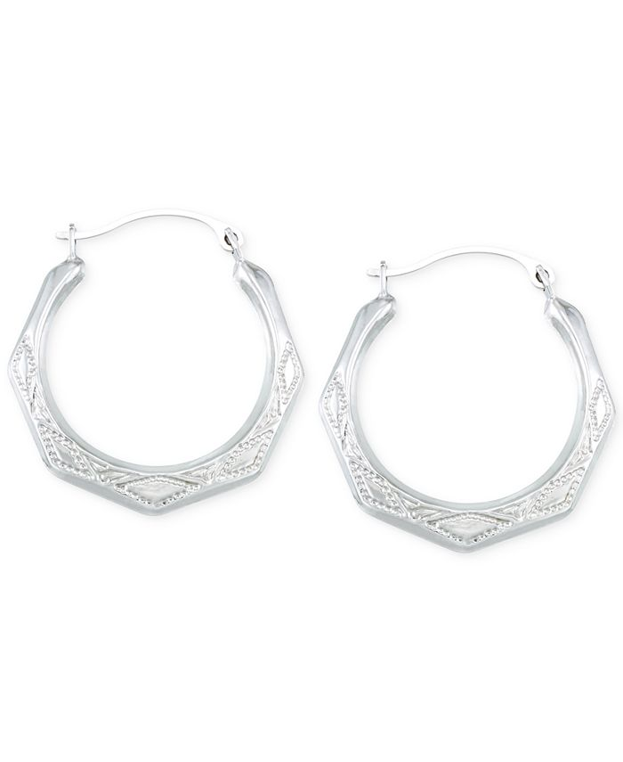 Macy's - Etched Hoop Earrings in 10k White Gold