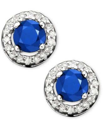 14k White Gold Sapphire (5/8 ct. t.w.) & Diamond Earrings (1/10 ct. t.w.)