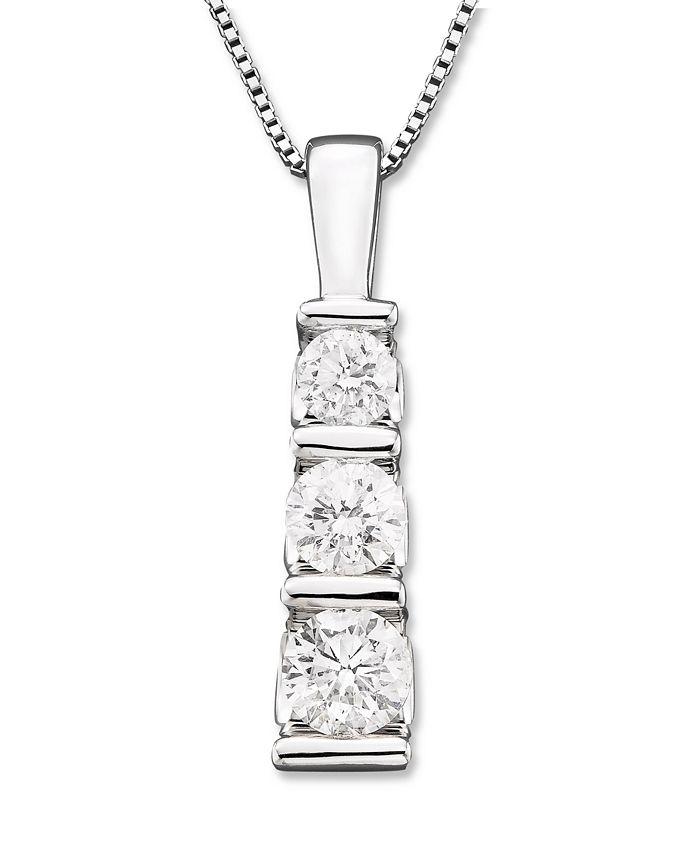Macy's - Three-Stone Diamond Pendant Necklace in 14k White Gold (1/2 ct. t.w.)