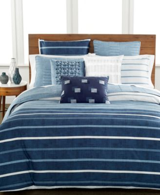 Hotel Collection Colonnade Blue Queen Duvet Cover