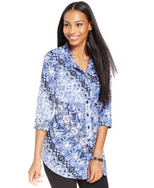 Style & Co. Printed Button-Down Shirt