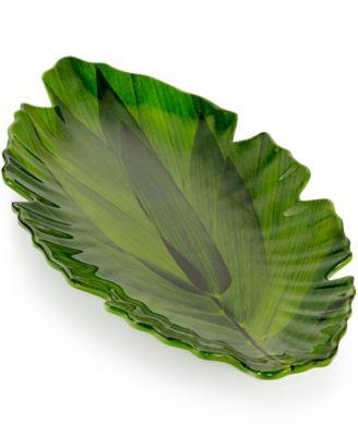 Zen Melamine Small Green Leaf Platter