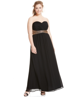 City Chic Plus Size Beaded Empire-Waist Sweetheart Gown