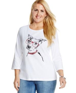 Karen Scott Plus Size Embellished Dog-Print Tee