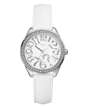GUESS Watch, Women's White Leather Strap 33mm G75960L