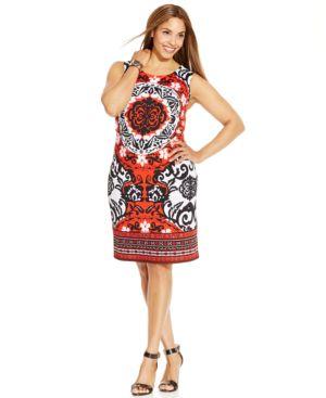 INC International Concepts Plus Size Sleeveless Printed Shift Dress