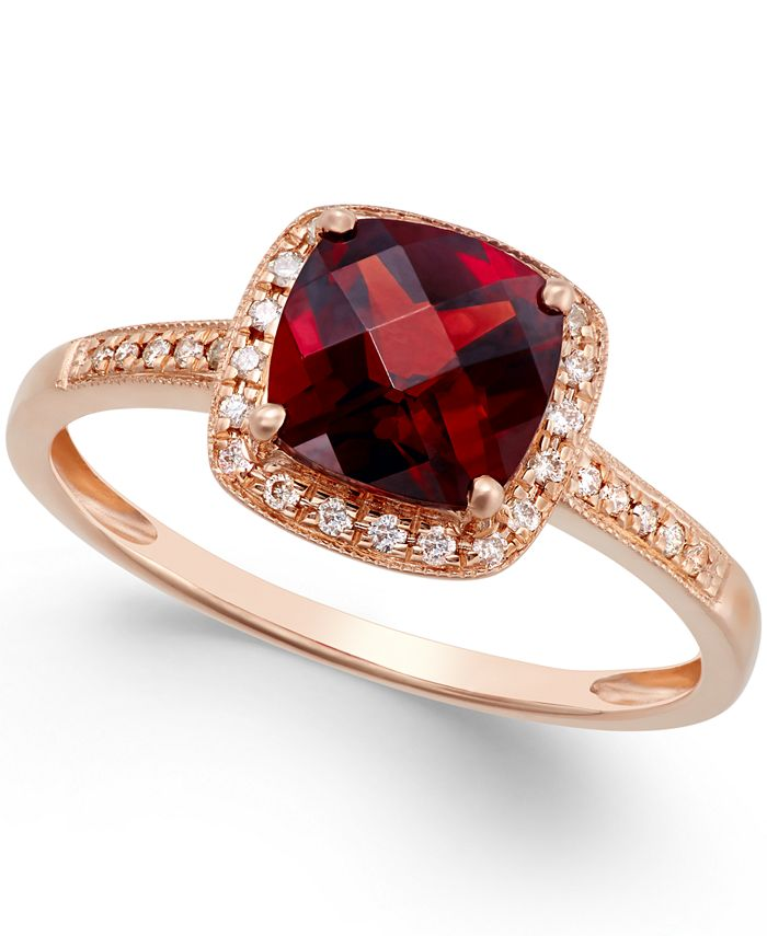 Macy's - Garnet (2-1/4 ct. t.w.) and Diamond Accent Ring in 14k Rose Gold