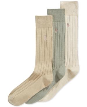 1920s-1950s New Vintage Men's Socks Polo Ralph Lauren Mens Three-Pack Crew Socks $23.00 AT vintagedancer.com