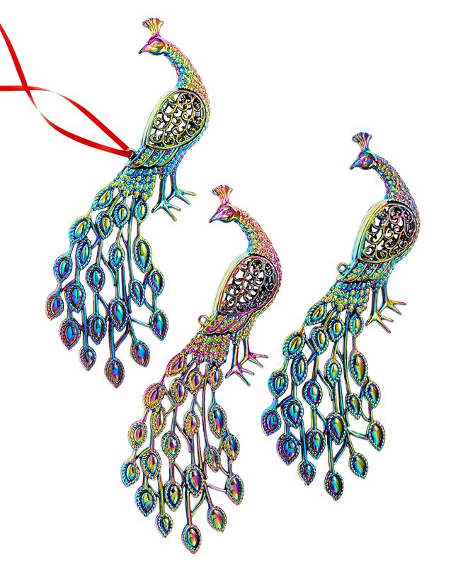 Holiday Lane Set of 3 Peacock with Iridescent Finish Ornaments