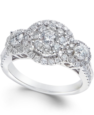Diamond Three Stone Halo Engagement Ring (1-1/2 ct. t.w.) in 14k White Gold