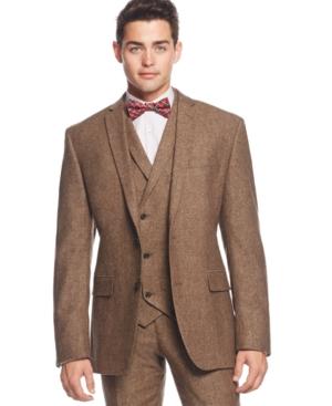 Bar Iii Brown Tweed Slim-Fit Jacket Only at Macys $161.99 AT vintagedancer.com