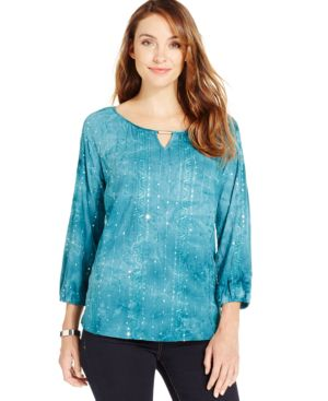 Jm Collection Sequin Keyhole Peasant Top