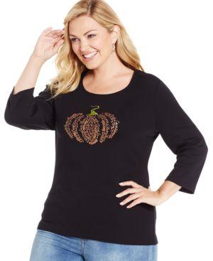 Karen Scott Plus Size Pumpkin-Graphic Scoop-Neck Top, Only at Macy's