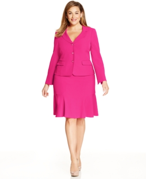 Kasper Gold Plus Size Three-button Skirt Suit