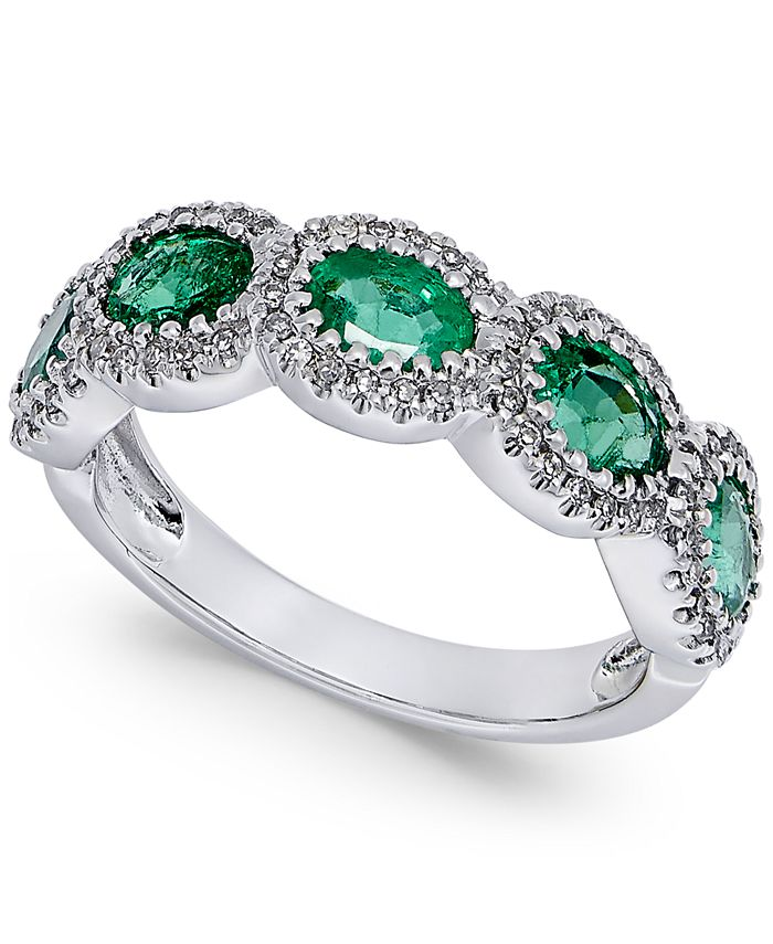 Macy's - Emerald (1-1/10 ct. t.w.) and Diamond (1/5 ct. t.w.) Ring in 14k White Gold