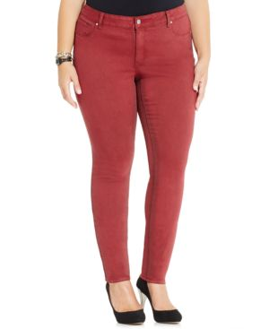 Jessica Simpson Plus Size Colored Skinny Jeans, Cabernet Wash