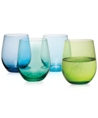CLOSEOUT! The Cellar Glass Assorted Blue Stemless Wine Glasses, Only at Macy's