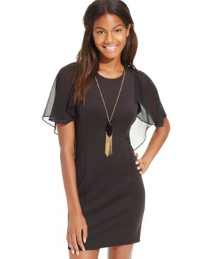 Bcx Juniors' Flutter-Sleeve Ponte Necklace Sheath Dress