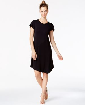 kensie Asymmetrical French Terry Shift Dress