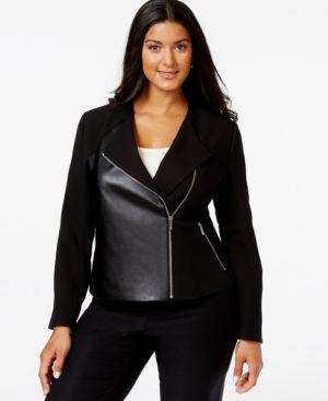 Calvin Klein Plus Size Faux-Leather-Front Moto Jacket