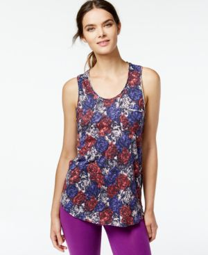 Lucky Lotus by Lucky Brand Floral-Print Cutout Racerbank Tank