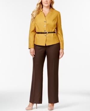 Tahari Asl Plus Size Belted Herringbone Pantsuit